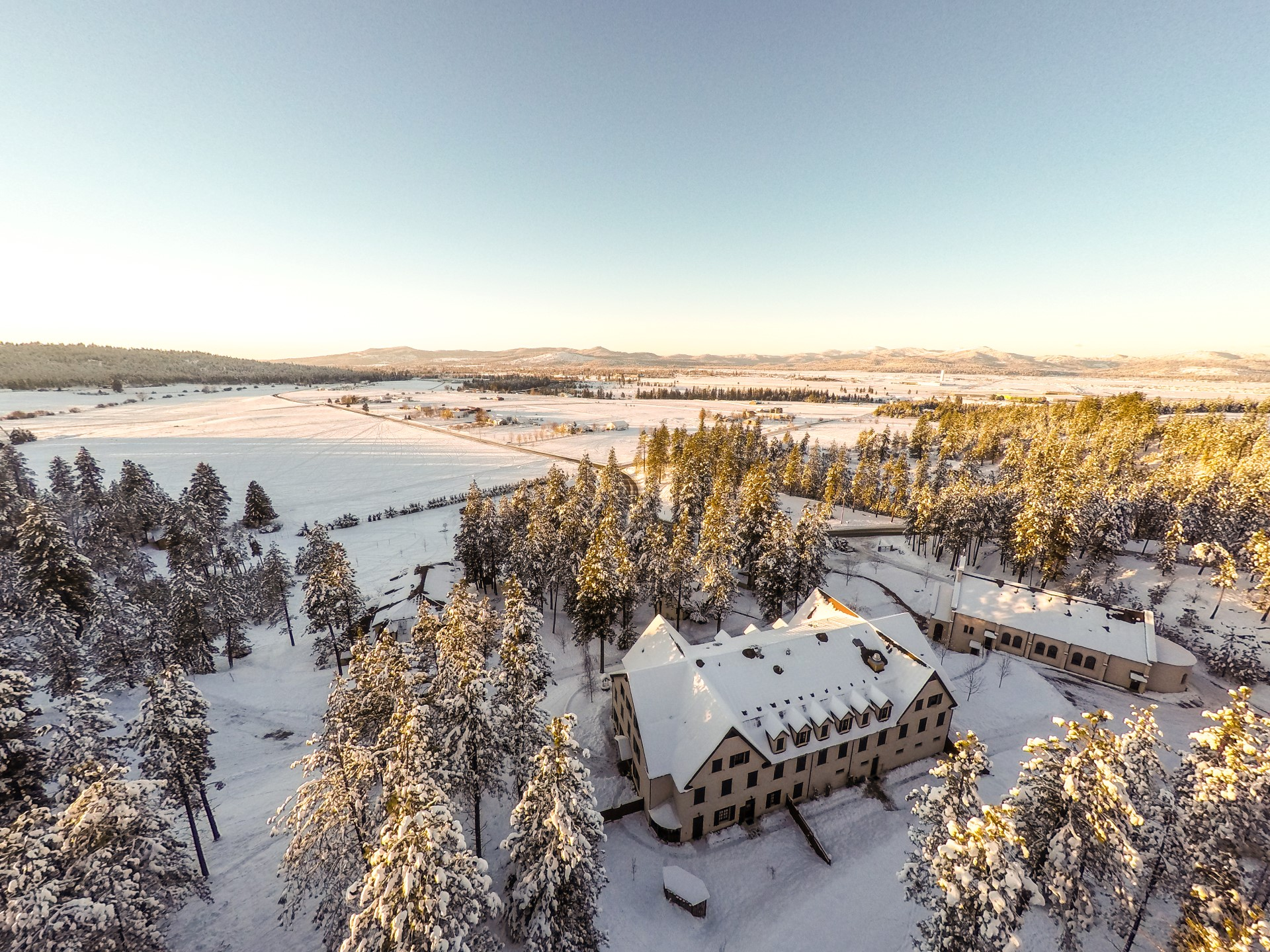 Aerial Drone Image of North Idaho in Winter