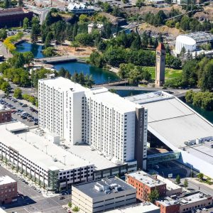 Aerial Photo of Downtown Spokane Riverfront Park Davenport Grand Hotel