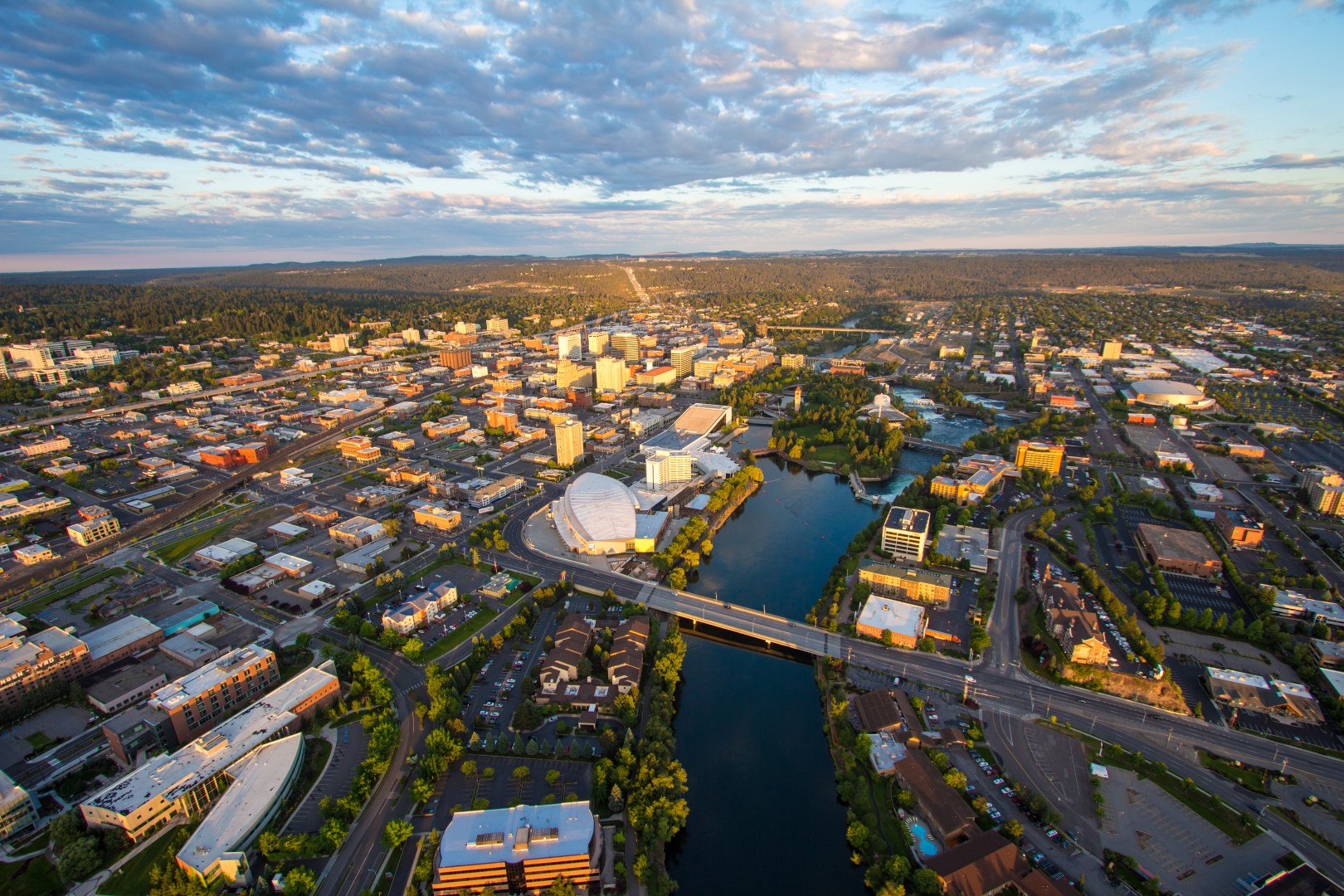 Aerial of Downtown Spokane