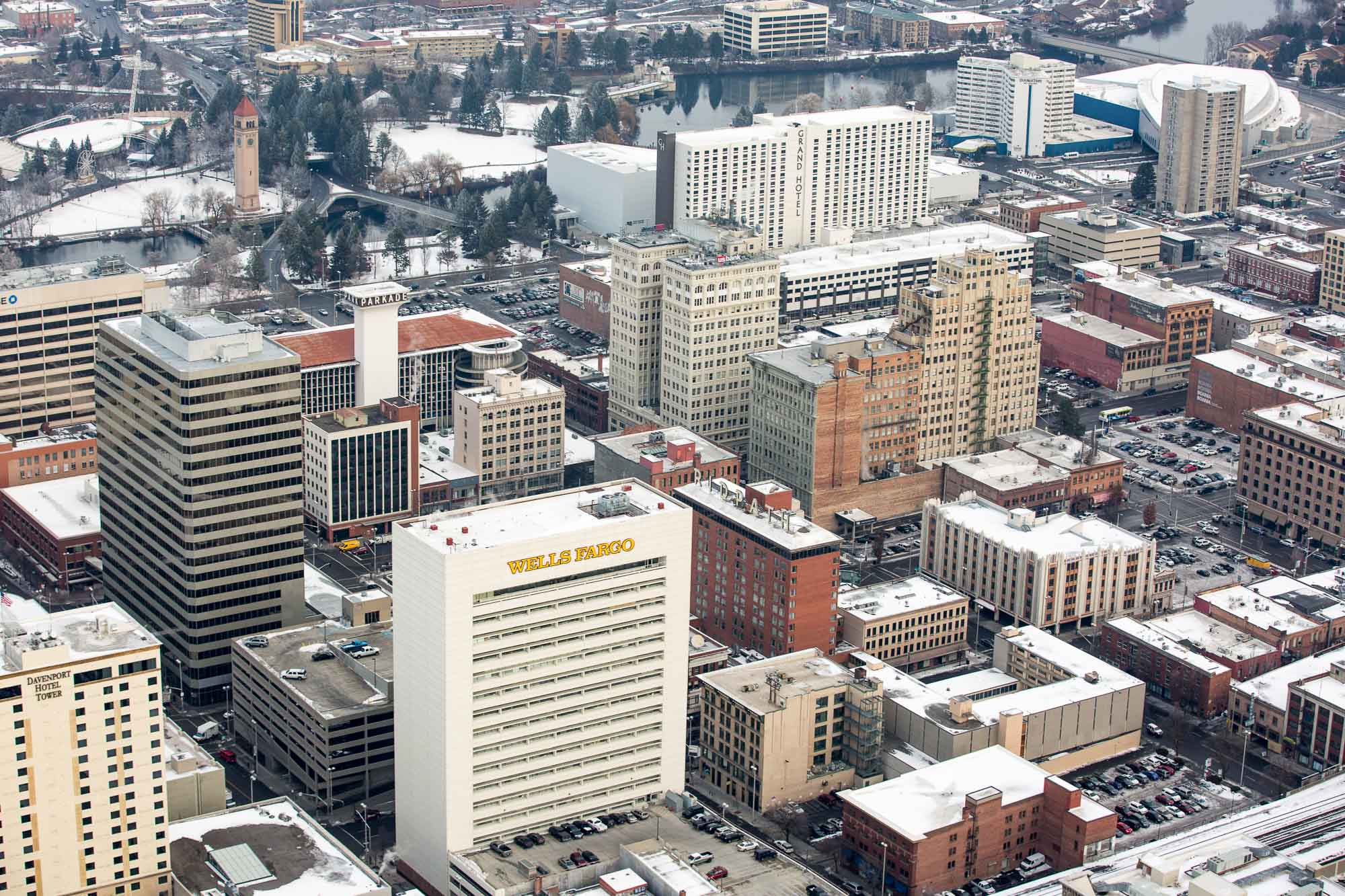 Aerial Photo of Spokane Downtown City Buildings