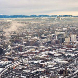 Spokane Downtown Aerial Winter