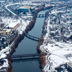 Aerial Drone Helicopter Shot of bridges on the River