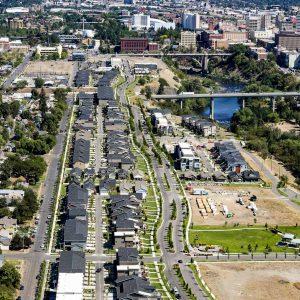 Aerial Photo of Spokane Kendall Yards Neighborhood